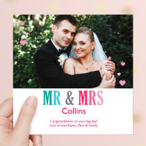 Personalised Mr And Mrs Luxury Fabric Photo Card