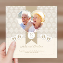 Personalised Special Anniversary Heart Luxury Fabric Photo Card