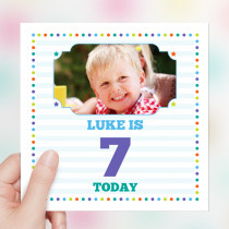 Personalised Dots Big Age Luxury Fabric Photo Card