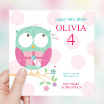 Personalised Cute Owl Big Age Luxury Fabric Photo Card