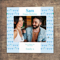 Personalised Blue Birthday Bunting Photo Card - Luxury Fabric Card
