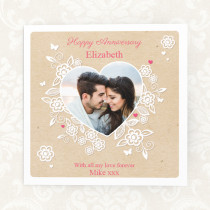 Personalised Lace Heart Luxury Fabric Photo Card