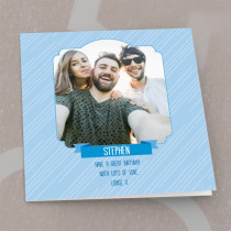 Personalised Blue Pinstripes Photo Card - Luxury Fabric Card