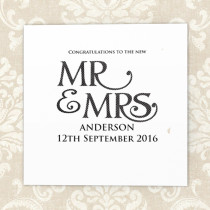 Personalised Mr And Mrs Luxury Fabric Card