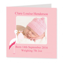 Baby Girl Stork - Luxury Greeting Card