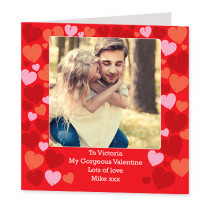 Personalised Love Hearts Photo Card - Luxury Fabric Card