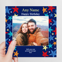 Personalised Grunge Star Birthday Photo Card - Luxury Greeting Card