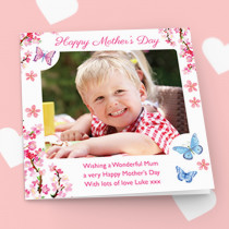 Personalised Mother's Day Butterfly Luxury Fabric Photo Card