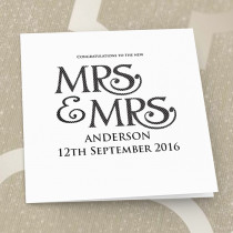Personalised Mrs and Mrs Luxury Fabric Card