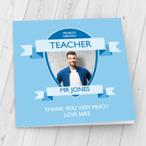 Personalised World's Greatest Teacher Blue - Luxury Greeting Card