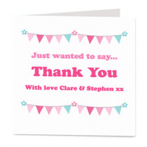 Pink Star and Bunting  - Luxury Greeting Card