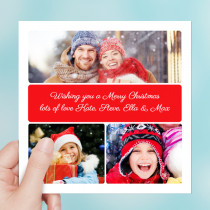 Personalised Christmas Three Photo Uploads with Script Text - Luxury Greeting Card