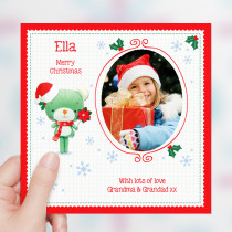 Personalised Christmas Bear Pointsettia with Photo Upload - Luxury Greeting Card