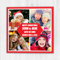 Personalised Christmas Polka Dot Border with Photo Upload - Luxury Greeting Card