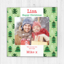 Personalised Christmas Green Tree Design with Photo Upload - Luxury Greeting Card