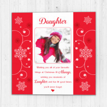 Personalised Sentiments Christmas Daughter with Photo Upload - Luxury Greeting Card
