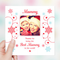 Personalised Sentiments Christmas Mummy with Photo Upload - Luxury Greeting Card