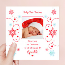 Personalised Sentiments First Christmas with Photo Upload - Luxury Greeting Card
