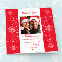 Personalised Sentiments Christmas Mum & Dad with Photo Upload - Luxury Greeting Card