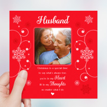 Personalised Sentiments Husband Christmas with Photo Upload - Luxury Greeting Card