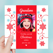 Personalised Sentiments Christmas Grandson with Photo Upload - Luxury Greeting Card