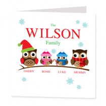 Personalised Owl Family Girl And Boy - Luxury Greeting Card