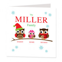 Personalised Owl Family One Girl - Luxury Greeting Card
