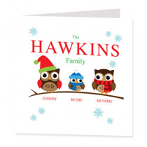 Personalised Owl Family One Boy - Luxury Greeting Card