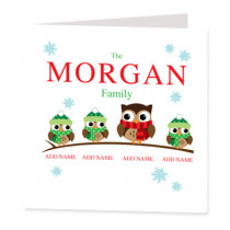 Personalised Owl Single Three Children - Luxury Greeting Card