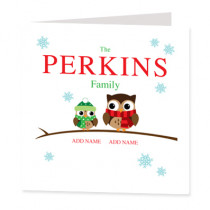 Personalised Owl Single One Child - Luxury Greeting Card