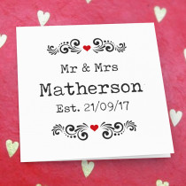 Personalised Mr And Mrs Editable Luxury Fabric Card