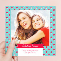 Personalised Red Flowers Pattern - Luxury Fabric Photo Card