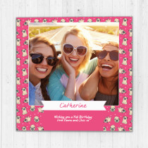 Personalised Pink Pug - Luxury Fabric Photo Card