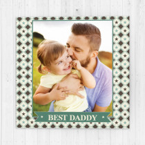 Personalised Green Checked Pattern Luxury Fabric Photo Card