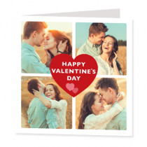Personalised Four Photo Heart Card - Luxury Fabric Card