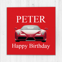 Personalised Ferrari Red Car - Luxury Greeting Card