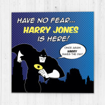 Personalised Batman Comic Strip Luxury Fabric Card