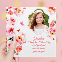 Personalised Watercolour Mother's Day Luxury Fabric Photo Card