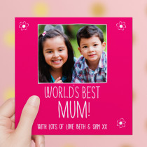 Personalised World's Best Mum Luxury Fabric Photo Card
