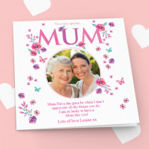 Personalised Mum Floral Luxury Fabric Photo Card