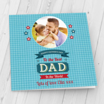 Personalised Checked Best Dad Luxury Fabric Photo Card