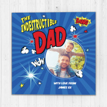 Personalised Indestructable Dad Luxury Fabric Photo Card