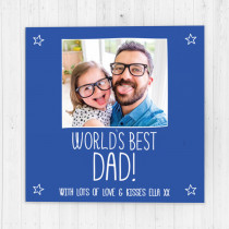 Fathers Day Personalised Blue World's Best Luxury Fabric Photo Card