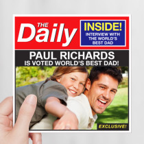 Personalised Best Dad Newspaper Luxury Fabric Photo Card
