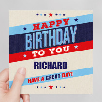 Personalised Retro Male Birthday - Luxury Fabric Card