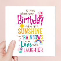 Personalised Full Of Sunshine Luxury Fabric Card