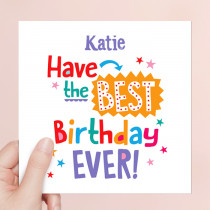 Personalised Best Birthday Ever Luxury Fabric Card