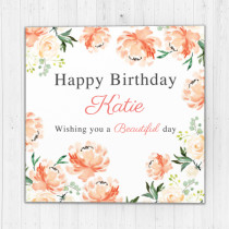 Personalised Peach Watercolour Flowers - Luxury Greeting Card