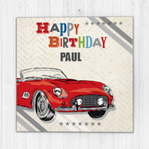 Personalised Happy Birthday Vintage - Luxury Fabric Card