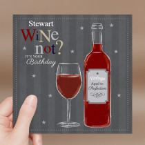 Personalised Happy Birthday Wine Not - Luxury Fabric Card